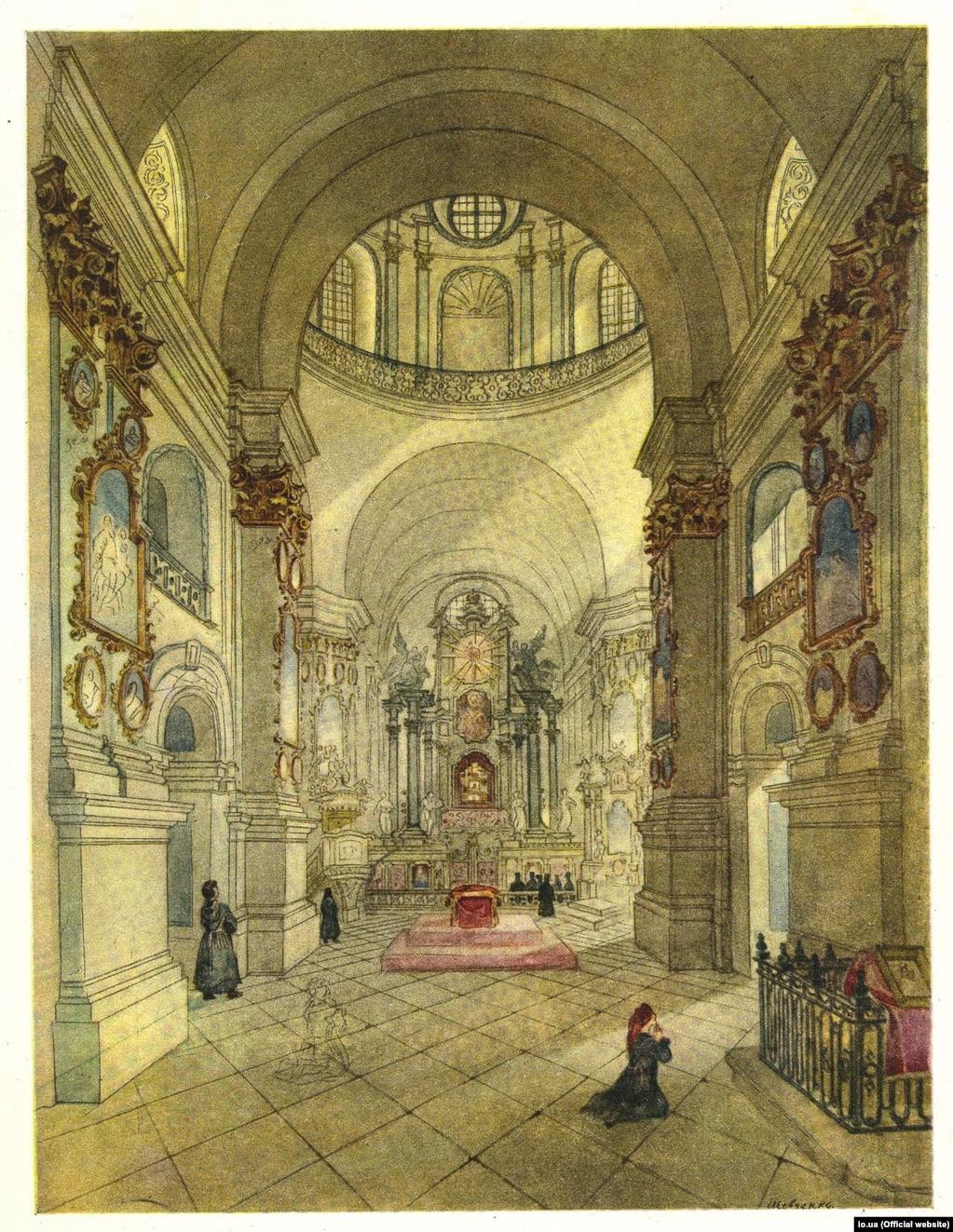Тарас Шевченко «Собор Почаївської Лаври» (внутрішній вигляд), акварель, 1846 рік