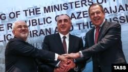 Mohammad JavadZarif, Elmar Məmmədyarov və Sergei Lavrov.