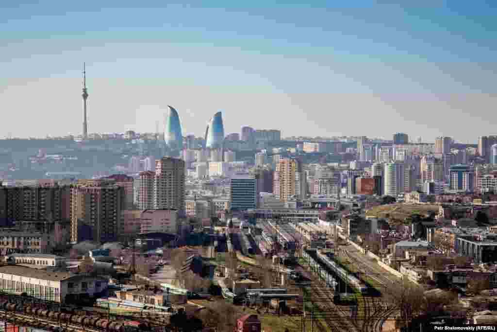 The Baku skyline seen from an unfinished skyscraper