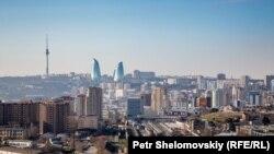 The Baku skyline seen from an unfinished skyscraper