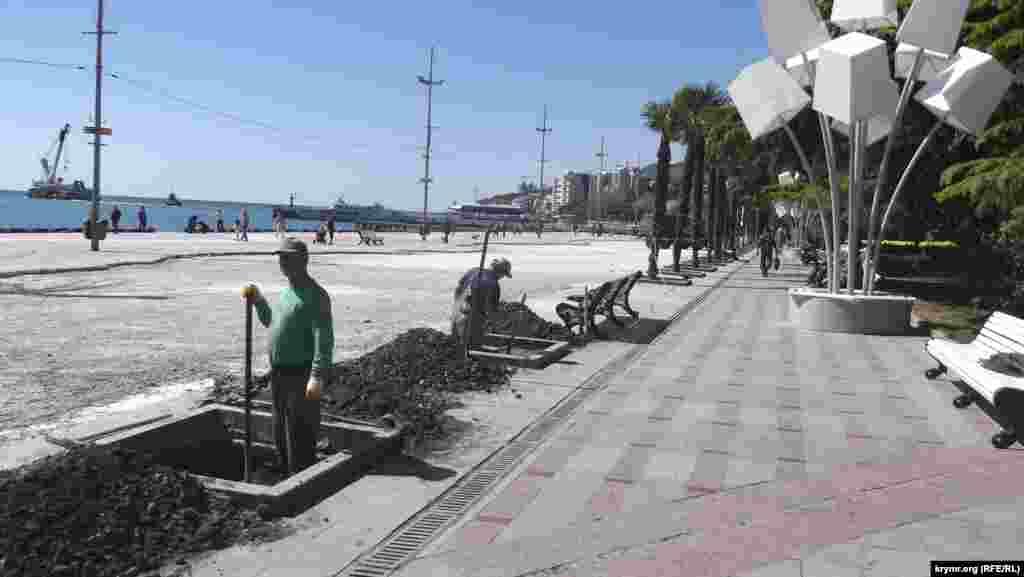 В Ялте пальмы с улицы Рузвельта пересаживают на набережную, 29 апреля