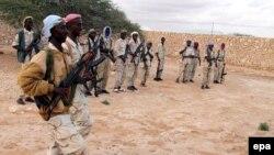Al-Shabab Islamic militants training at a camp in in Marergur in the Galgadud region of Somalia.