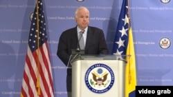 Senatori republikan i Shteteve të Bashkuara, John McCain. Sarajevë, 11 prill 2017.