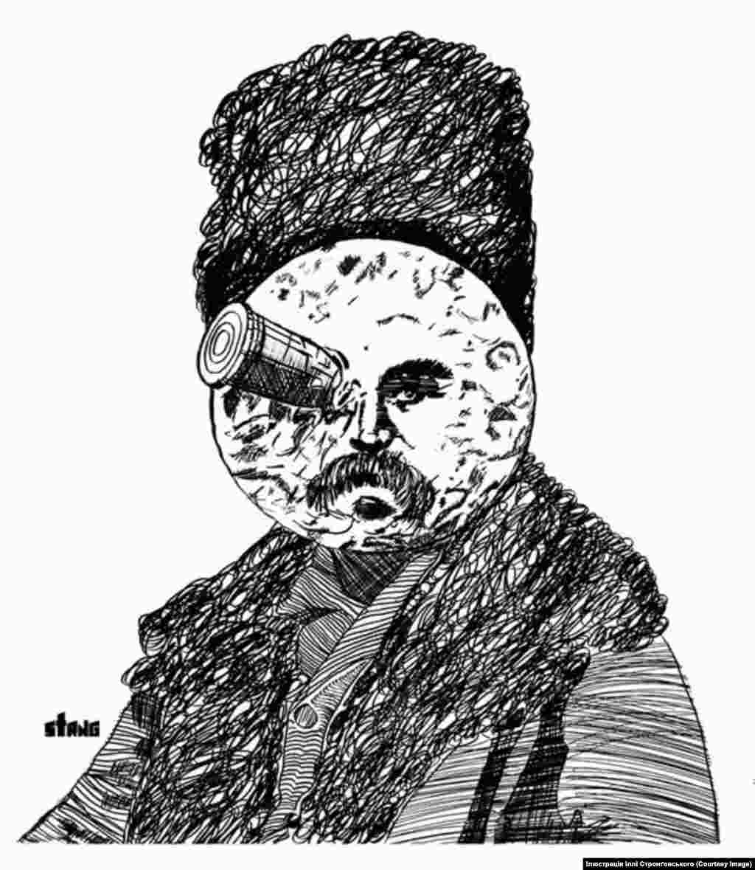 Тарас Шевченко в образі місяця з першого фантастичного фільму в історії кінематографу «Подорож на Місяць» 1902 року Автор: Ілля Стронґовський