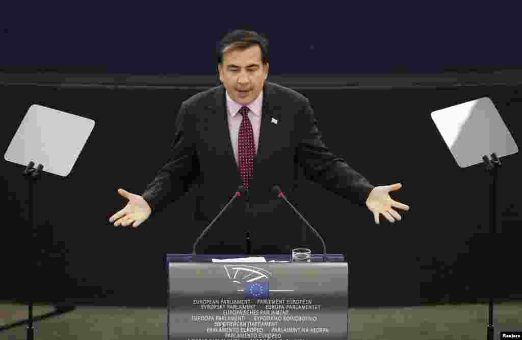 President Mikheil Saakashvili addresses the European Parliament in Strasbourg on November 23, 2010.