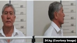 A mugshot of former Kyrgyz President Almazbek Atambaev taken by police after his arrest on August 8.