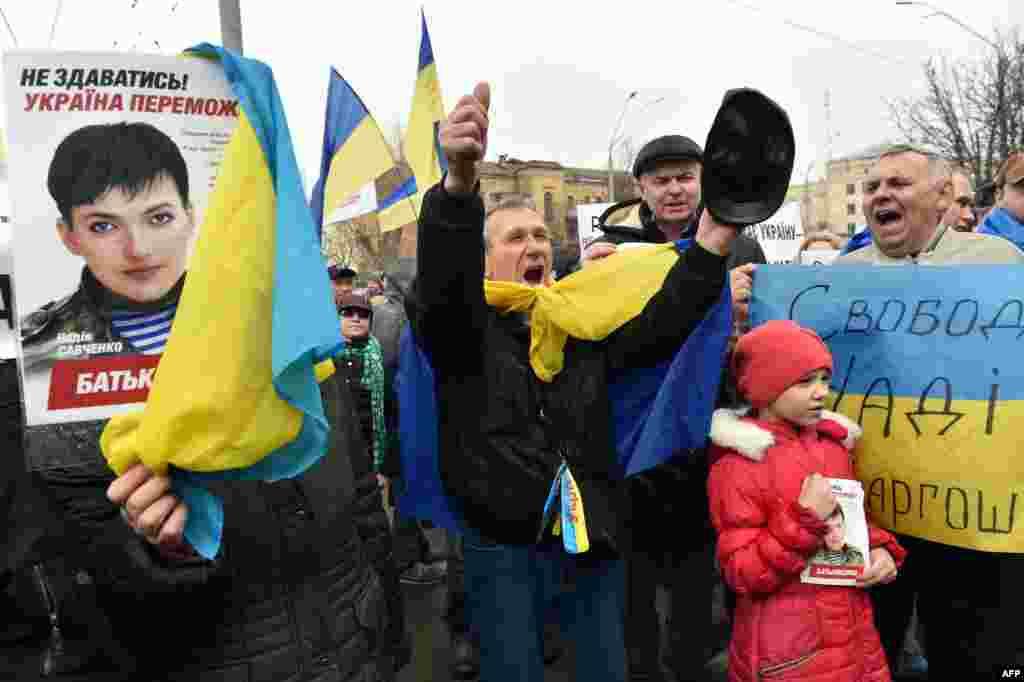 Акція за звільнення Надії Савченко під посольством Росії у Києві, 9 березня 2016 року