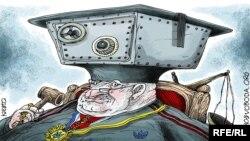 Caricatură politică de Oleksi Kustovski.