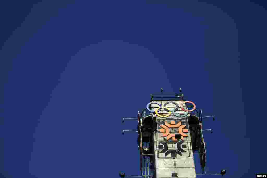 The logo of the 1984 Winter Olympics in Sarajevo is seen on a tower near Zetra Hall.