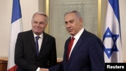 Kryeministri izraelit, Benjamin Netanyahu (djathtas) dhe ministri i Jashtëm francez, Jean-Marc Ayrault, Jerusalem, 15 maj 2016