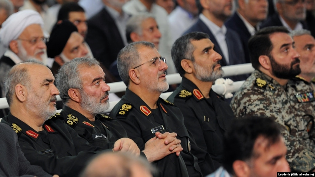 Top IRGC commanders (L2R) Hossein Salami, Ali Fadavi, Mohammad Pakpour and Amir Ali Hajizadeh on Fitr Prayer in Tehran on June 26, 2017.