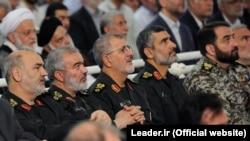 Top IRGC commanders (L2R) Hossein Salami, Ali Fadavi, Mohammad Pakpour and Amir Ali Hajizadeh on Fitr Prayer in Tehran on June 26, 2017.