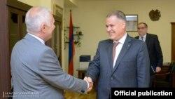 Armenia - Justice Minister Davit Harutiunian (R) meets with EU Ambassador Piotr Switalski, 9 June, 2017.