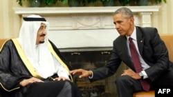 АҚШ президенті Барак Обамы (оң жақта) және Сауд Арабиясы королі Салман. Вашингтон, 4 қыркүйек 2015 жыл.