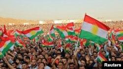 Pamje e një tubimi të kurdëve në Irak në mbështetje të referendumit për pavarësi