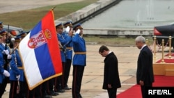 Russian President Dmitry Medvedev (center) with Serbian President Boris Tadic (right) in Serbia