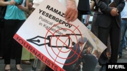 A protest action for press freedom in Kazakhstan in June 2009, highlighting the case of Ramazan Esergepov, a journalist serving three years in prison for revealing state secrets. Rights groups say the case was politically motivated.