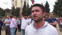 """Mitinq iştirakçısı:""""İş yoxdur, nə edim nəşə satım?"""""""