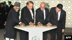 Turkmen President Gurbanguly Berdymukhamedov (far-right), Indian Vice President, Hamid Ansari (left), Afghan President Ashraf Ghani (second-right) and Pakistani Prime Minister Nawaz Sharif ceremonially press a button to begin welding on the TAPI gas pipeline in 2015. Although Berdymukhammedov has said work on TAPI should be done by the end of 2019, few believe this to be true.