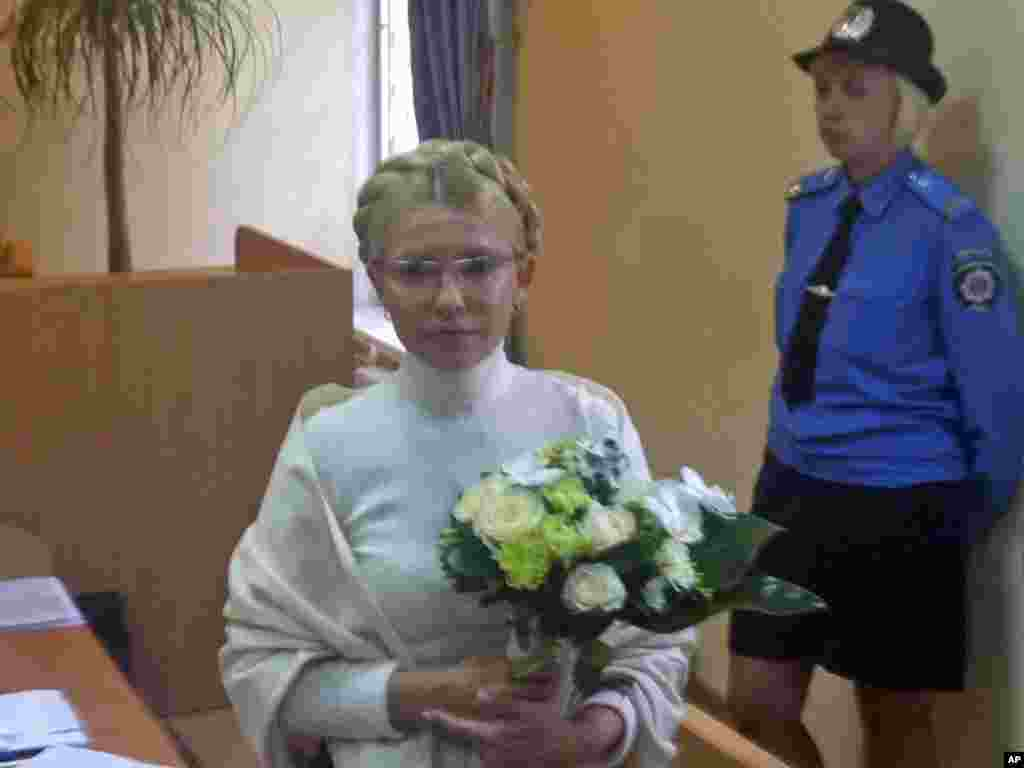 Tymoshenko appears inside the courtroom in Kyiv on August 10, 2011.