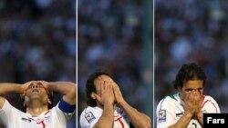 مهدی مهدوی کیا، کاپیتان تیم ملی ایران پس از شکست در مقابل عربستان در ورزشگاه آزادی