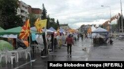 Антивладин камп пред македонската влада во Скопје.