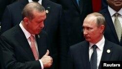 Չինաստան - Ռուսաստանի նախագահ Վլադիմիր Պուտինը և Թուրքիայի նախագահ Ռեջեփ Էրդողանը Մեծ քսանյակի գագաթնաժողովում, Հանչժոու, 4-ը սեպտեմբերի, 2016թ․