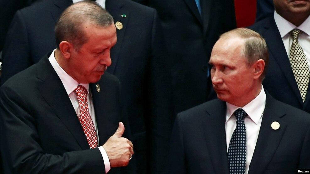 """Реджеп Эрдоган и Владимир Путин на саммите """"Группы двадцати"""" в Китае, сентябрь 2016 года"""
