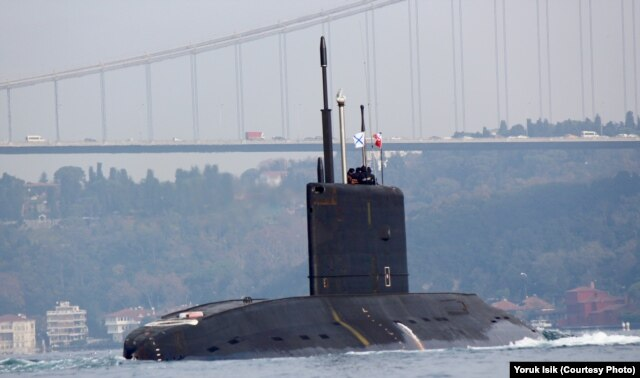 Russia's new diesel submarine, the Rostov-on-Don, takes part in exercises in the Black Sea.