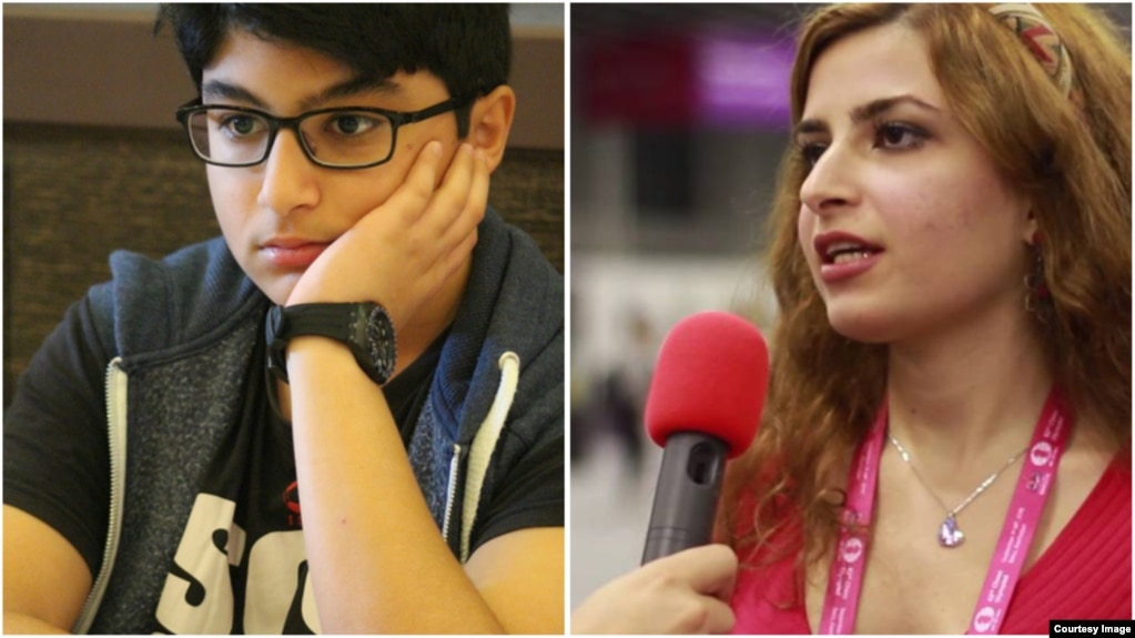 Iranian chess players Dorsa (right) and Borna Derakhshani