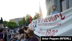 Armenia -- Activists protest against energy price-hikes in Yerevan's Liberty Square, 21Jun2015