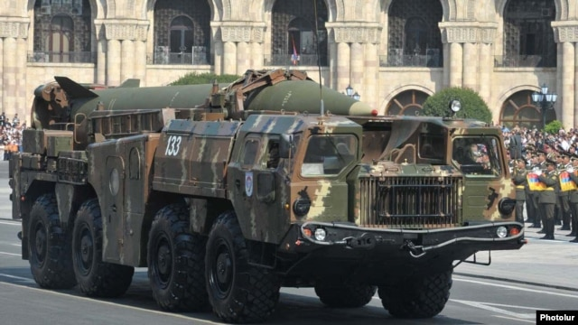 Armenia - A 9K72 (Scud-B) ballistic missile is demonstrated during a military parade in Yerevan, 21Sep2011.