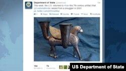 تصویر توئیتر وزارت خارجه آمریکا درباره اثر باستانی ایرانی