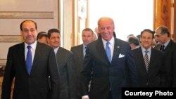 جوزف بایدن معاون رییس جمهور آمریکا و نوری المالکی نخست وزیر عراق
