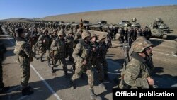 Nagorno-Karabakh - Armenian soldiers march after a military exercise, 20Jan2015.
