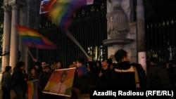 Turkey. İstanbul 25Jan.2014 - Gay rights activists held a protest on death of Azerbaijani İsa Shahmarli