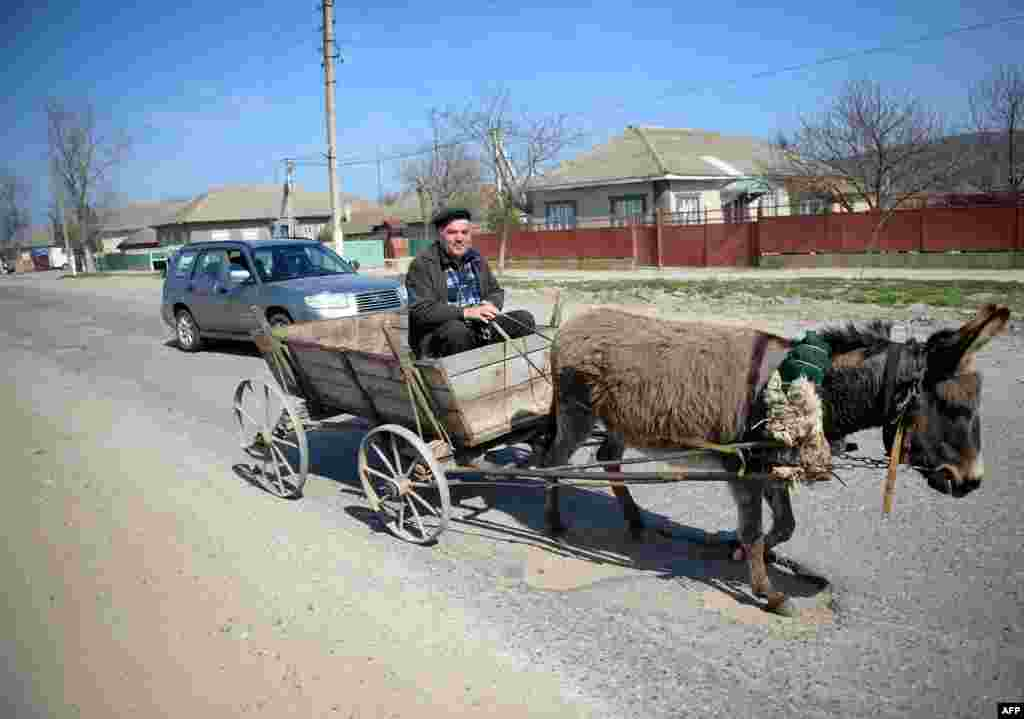 A man rides a donkey cart in the village of Comgaz.