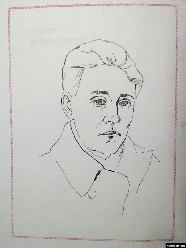 Арлен Кашкурэвіч. Партрэт Тодара Кляшторнага з кнігі паэта «Выбранае», 1970 год