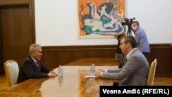Ambasador Palestine u Srbiji Mohamed (Mohammed) Nabhan na sastanku sa predsednikom Srbije Aleksandrom Vučićem u Beogradu, 15. septembra 2020.