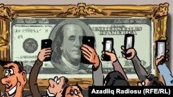 """""""Muzeydə dollar"""". Gündüz Ağayev. Karikatura."""