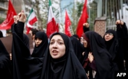 Iranian women chant slogans during an anti-U.S. rally in Tehran on May 9, after Trump withdrew from the Iran nuclear deal.