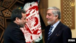Afghanistan; Kabul; Abbas Araghchi, the political Deputy Foreign Affairs of Iran, greeting Afghanistan's Chief Executive Abdullah Abdullah on his trip to Kabul. January 5, 2019
