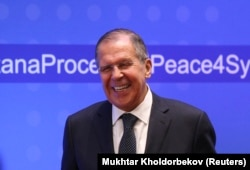 Russian Foreign Minister Sergei Lavrov in Astana on March 16.