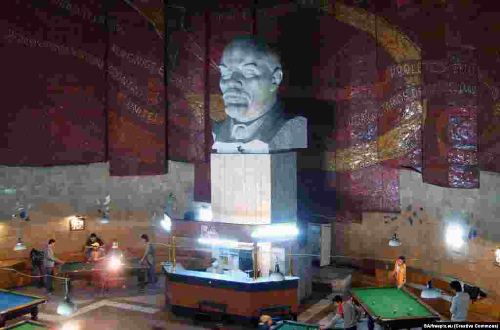 Ulan Bator, Mongolia: A heavy bust of Lenin gives this pool hall a dose of ironic cool.