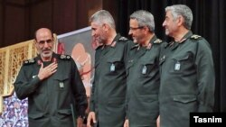 Mohammad Hossein Sepehr (L), with other senior IRGC commanders. April 16, 2018.