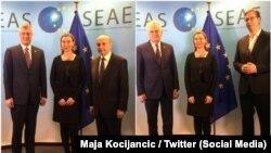 Dijaloga i neće biti do okončanja izbora u Srbiji, poručuju analitičari: Predsednici i premijeri Kosova i Srbije sa Federikom Mogerini u Briselu