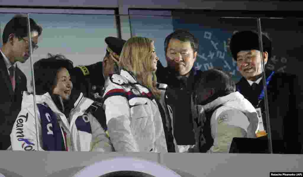 Closing Ceremony: Ivanka Trump, center, U.S. President Donald Trump's daughter and Kim Yong Chol, right, vice chairman of North Korea's ruling Workers' Party Central Committee, right, attend the closing ceremony of the 2018 Winter Olympics in Pyeongchang, South Korea, Sunday, Feb. 25, 2018. (AP Photo/Natacha Pisarenko)