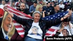 Cвяткування перемоги Міло Джукановича на виборах президента Чорногорії. Подгориця, 15 квітня 2018 року