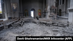 Residents reported that cathedral in the town of Shushi (known as Susa in Azeri) sustained exterior and interior damage from an attack on October 8.