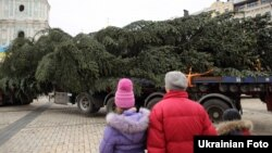 На Софійській площі почали встановлювати головну новорічну ялинку країни. Київ, 5 грудня 2016 року